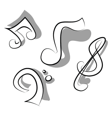 Musical notes doodle vector or color illustration