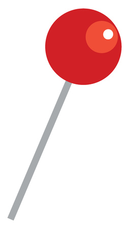 Red candy lollipop vector or color illustration