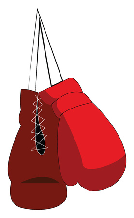 Pair of red boxing gloves vector or color illustration Ilustração