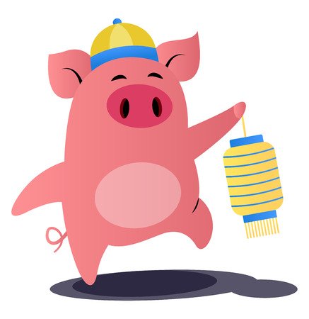 Cartoon chinese pig vector illustration on white background