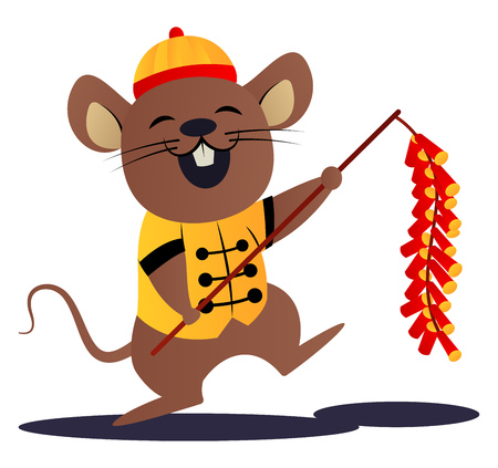 Cartoon mouse in yellow chinese suit vector illustartion on white background Illustration