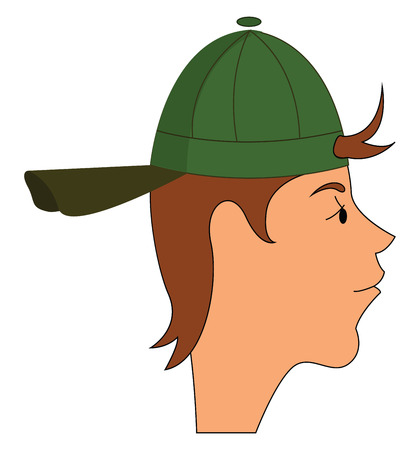 Side portraite of a boy with a green hat vector illustration on white background