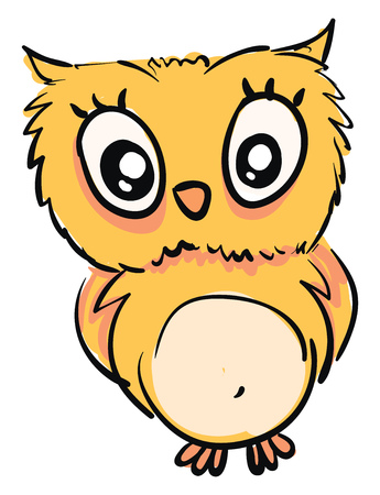 Little yellow owlillustration vector on white background