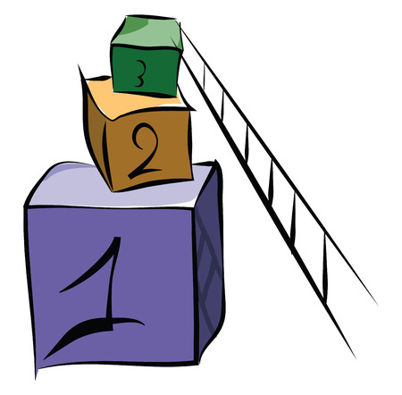 Cubic boxes with numbers vector or color illustration