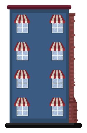 Cartoon blue building vector illustartion on white background  イラスト・ベクター素材