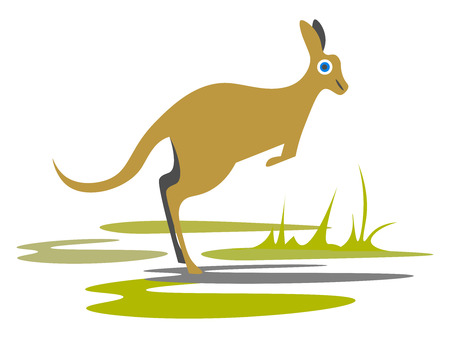 Kangaroo in the wildillustration vector on white background Illusztráció
