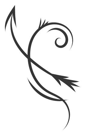 Bosquejo del tatuaje blanco y negro simple de la ilustración de vector de Sagitario signo del horóscopo sobre fondo blanco