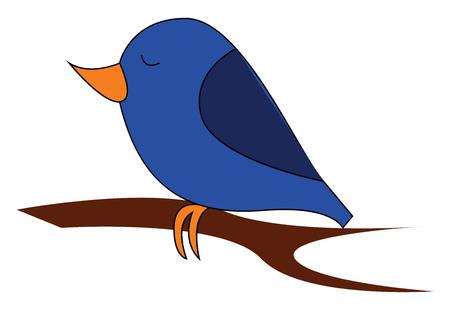 Little blue birdillustration vector on white background