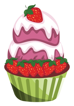 Chocolate cupcake with strawberries and purple ice cream illustration vector on white background