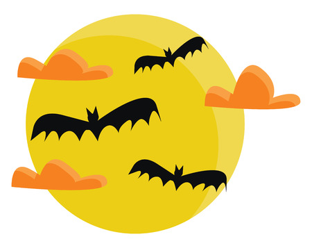 Spooky Halloween night vector or color illustration Ilustração