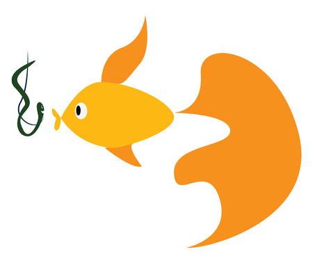 Fish and fishing hook vector or color illustration Illustration