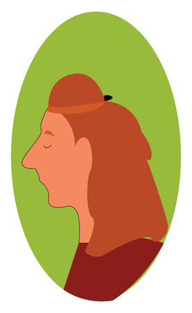 Red haired woman profile with closed eyes illustration print vector on white background