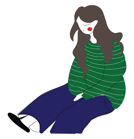 Abstract vector illustration on white background of a longhaired sitting girl in  green  striped shirt and jeans