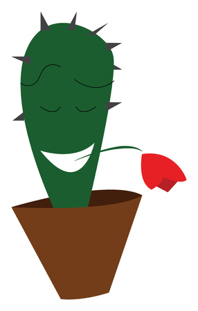 Cactus with red flower in mouth vector or color illustration