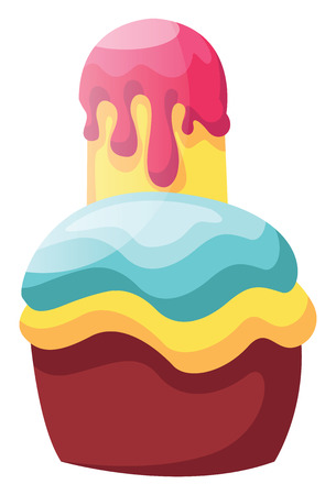 Double frosted cupcake illustration vector on white background