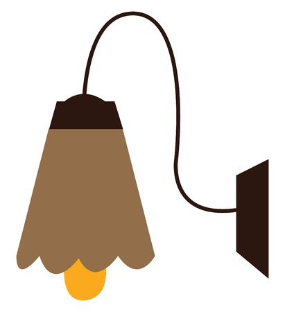 A brown wall lamp shade vector or color illustration Stock Illustratie