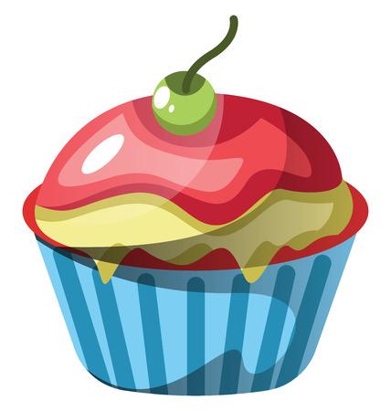 Red velvet cupcake with red and green icing illustration vector on white background Ilustração