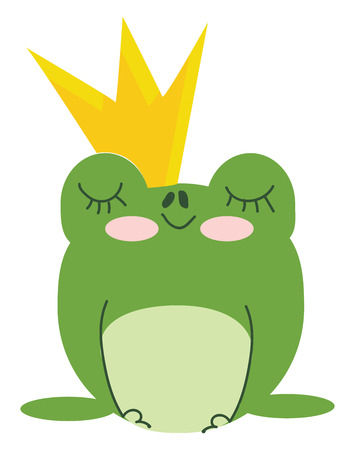 Green king frog with crown vector or color illustration