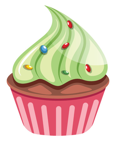 Chocolate cupcake with green topping illustration vector on white background