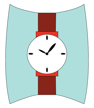 Brown wrist watch showing time illustration print vector on white background