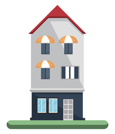 Cartoon white building with red roof vector illustartion on white background 向量圖像