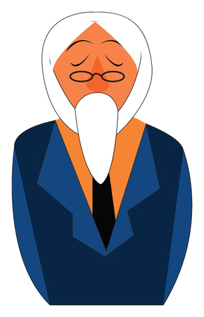 Old man with white beard vector or color illustration
