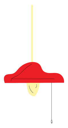 Red lamp with lit bulb vector illustration on white background  イラスト・ベクター素材