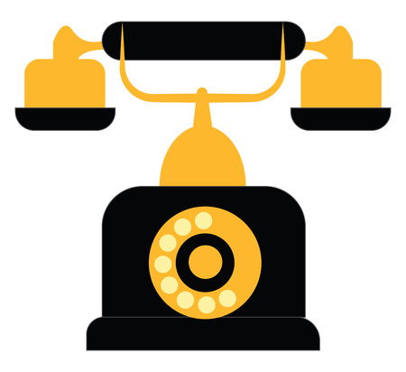 Vintage black and yellow telephone vector illustration on white background