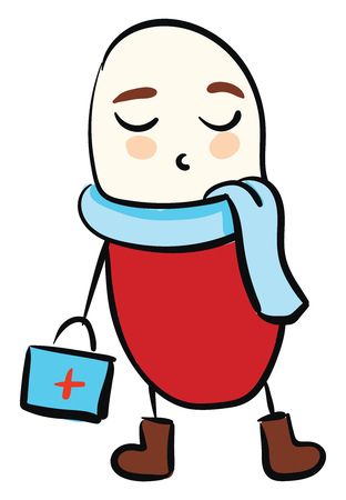 Cute vector illustration of a red medical pill wearing a suitcase and blue scarf
