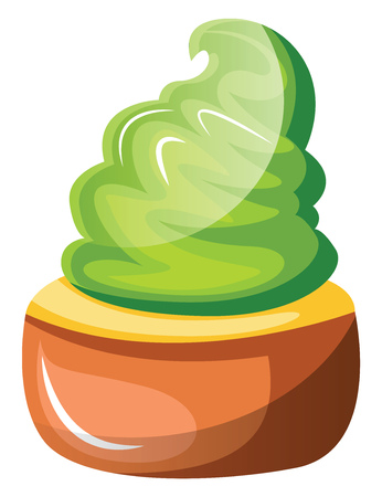 Chocolate cupcake with green whipped cream illustration vector on white background