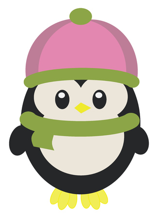 Baby penguin in warm winter clothes vector or color illustration Illustration