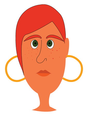 Simple cartoon of a red-haired girl with frecklles and golden earrings  vector illustration on white background