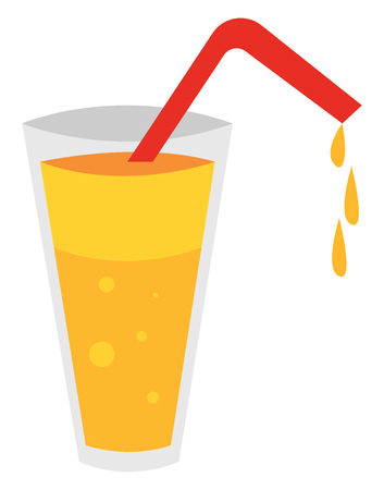 Juice with strawillustration vector on white background