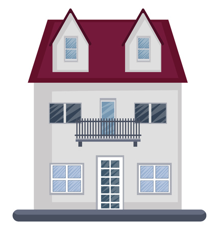 Cartoon white building with red roof vector illustartion on white background  イラスト・ベクター素材