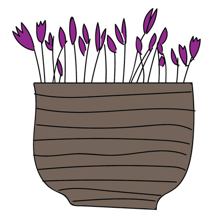 Simple vector illustration of purple flowers in brown flower pot on white background Illustration