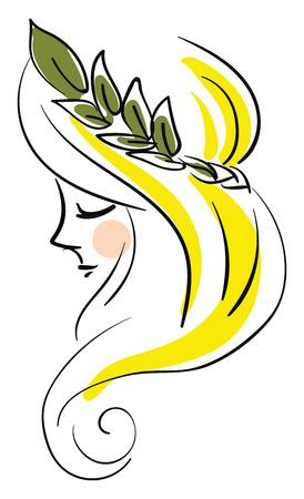 Woman wearing leaf profile illustration basic RGB vector on white background Иллюстрация