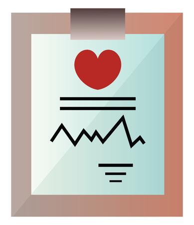 Medical record on a clipboard vector illustration on a white background Ilustração