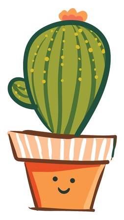 Lively cactus for indoor vector or color illustration