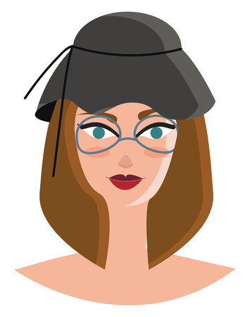 Blue eyed girl in grey hat vector or color illustration