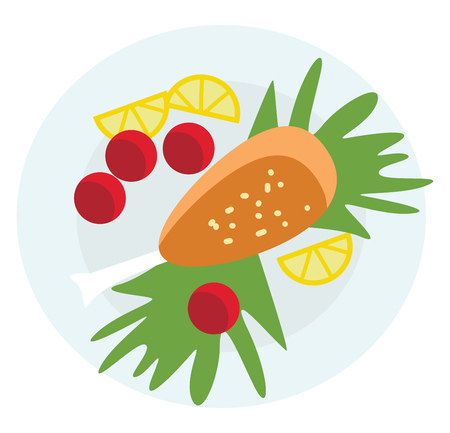 A lavish food platter with greens and fruits vector or color illustration