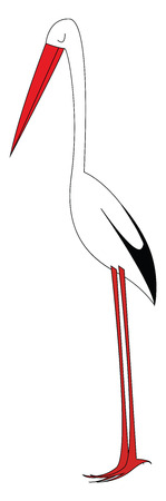 Simple cartoon stork in the nest vector illustration on white background Illustration