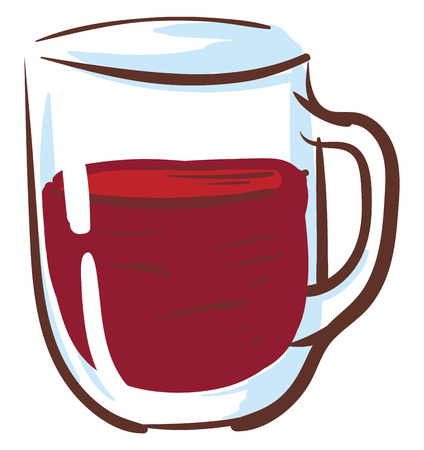 Teaglass with red tea vector illustration on white background