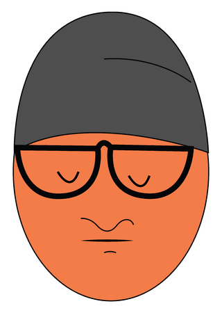 Worried guy with big glasses vector illustration on white background