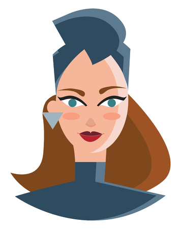 Woman in fashionable headgear vector or color illustration Illustration