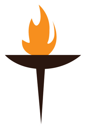 A burning wooden torch vector or color illustration Stock Illustratie