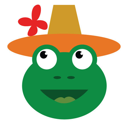 Green frog with top hat vector or color illustration