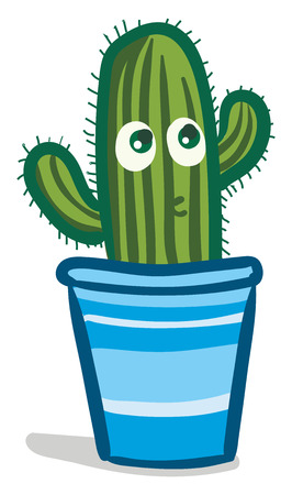 Cactus covered in thrones vector or color illustration