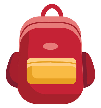 Red and yellow school bag vector illustration on white background 向量圖像