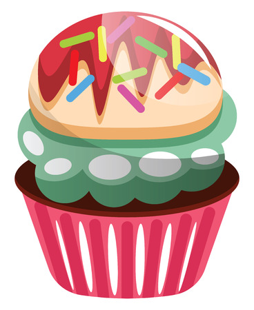 Colorful cupcake with sprinkles illustration vector on white background