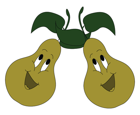 Cartoon of two singing green pears with green leaves vector illustration on white background 矢量图像